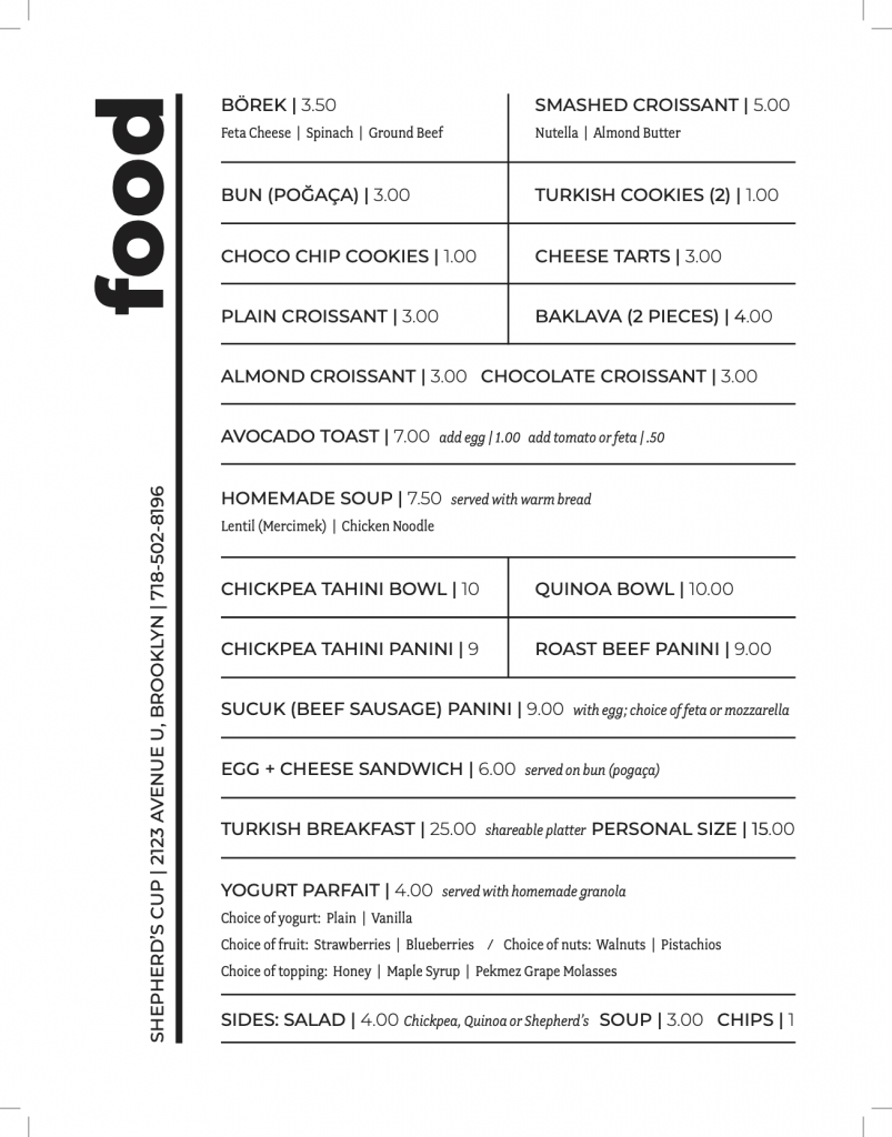 shepherds cup food menu