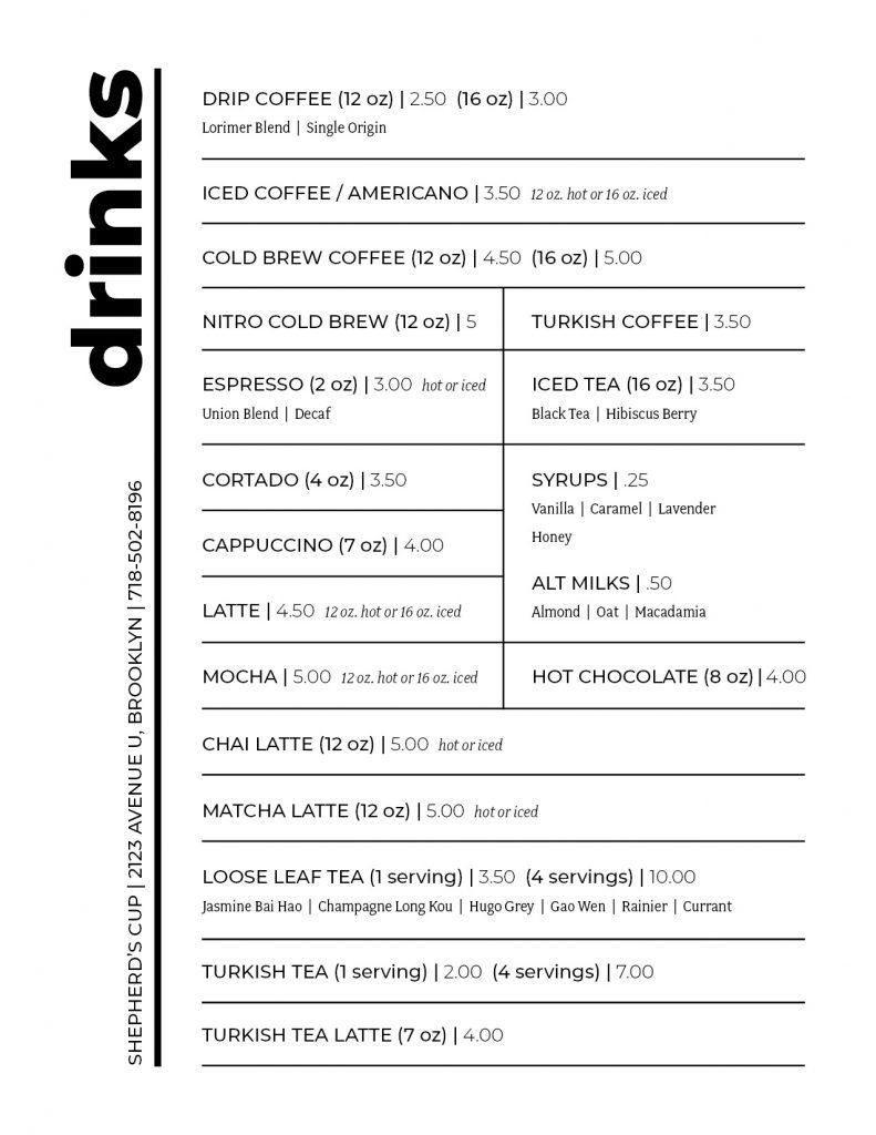 Shepherds Cup Drink Menu 8 18 21